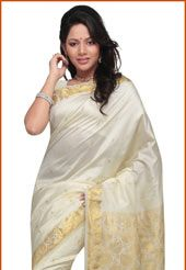 Off White Art Silk Saree with Blouse