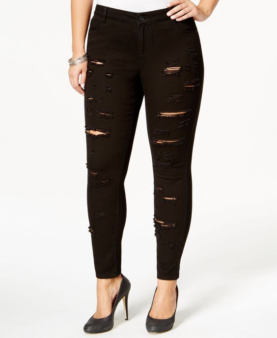 Rocks & Indigo Plus Size Ripped Skinny Jeans, Black Wash | Clothes ...