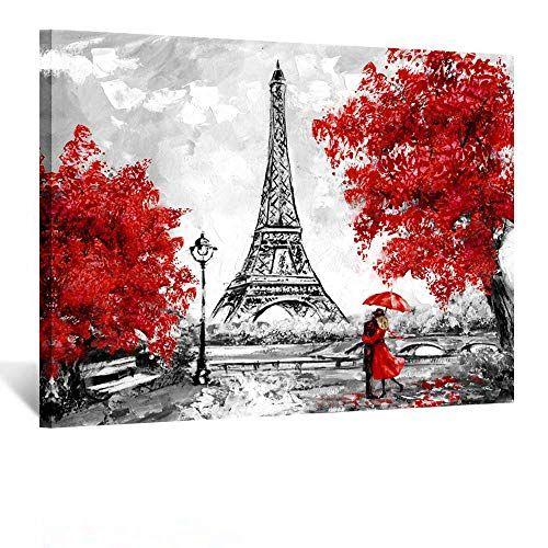 Kreative Arts Romantic Couple Walking In The Rain Eiffel Https Www Amazon Com Dp B07x1k12mn Ref Cm Sw R Pi Dp Eiffel Tower Painting Tree Canvas Painting