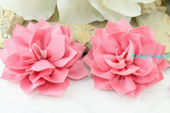 2 pcs- Rosy Blush Lotus Fabric Flowers for hair clip headband wedding bridal bouquet  DIY Supply