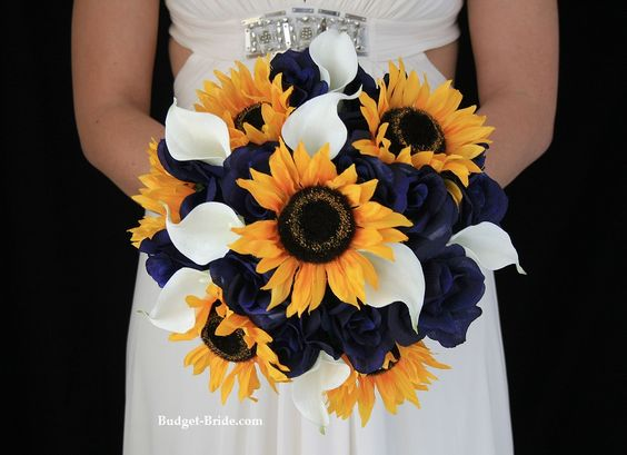 Sunflower and Navy Blue Flower Package... except w orange callas and no sunflowers for Camdyn