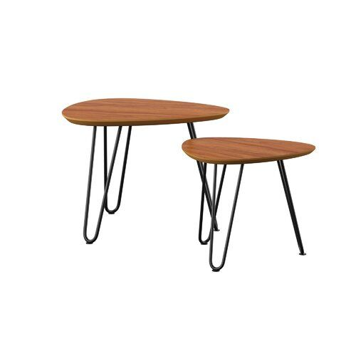 Labarge Hairpin 3 Legs 2 Piece Nesting Tables Nesting Tables Coffee Table Size Coffee Table Setting