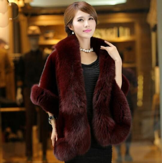 Womens Faux Fur Luxury Shawl Jacket Cloak Short Parkas Korean Ladies Coat A1543