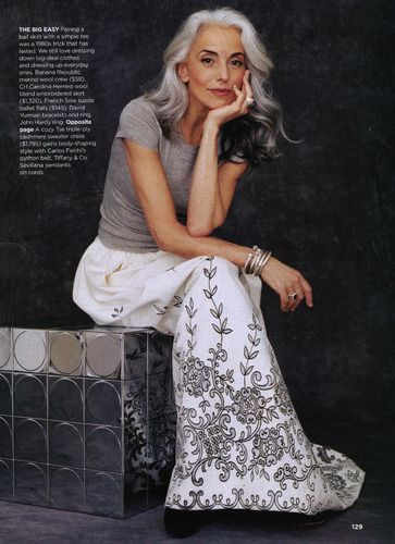 I love her hair! It is ok to embrace that silver. :) hmmm... I need to work out. lol! :):