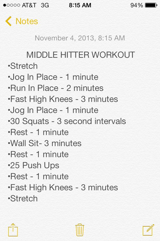 Middle Hitter Workout-Once starting out do this every other day. This helps strengthen your muscles during the off season.