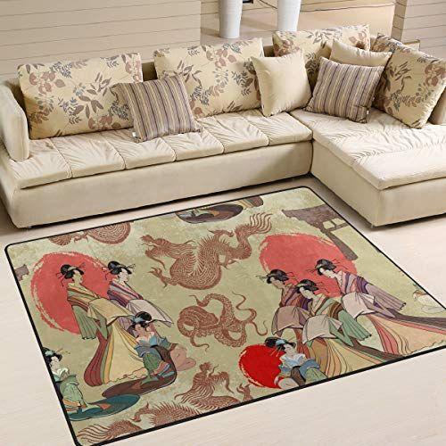 Use7traditionnel Japonais Culture Soleil Dragon Zone Tapis Tapis Tapis Pour Le Salon Chambre A Coucher Tissu Multicolore Salon Japonais Chambre A Coucher Salon