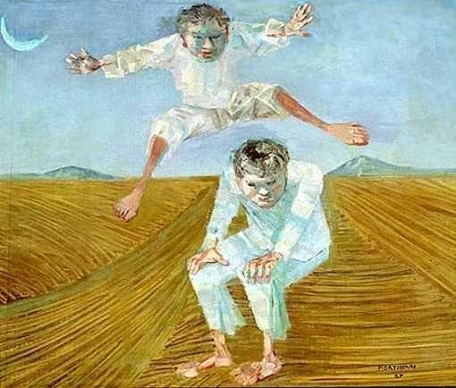 Pulando carniça, 1957  Cândido Portinari (Brasil, SP 1903- RJ 1962)  óleo sobre madeira, 53 x 64cm