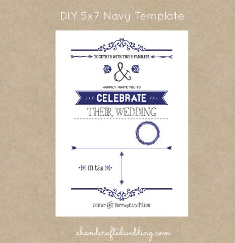 5x7 diy rustic chic wedding invitation template navy ahandcraftedwedding invites pinterest. Black Bedroom Furniture Sets. Home Design Ideas