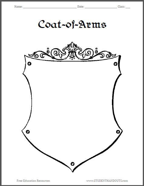 Printables Coat Of Arms Worksheet coat of arms template worksheet 3 conference theme medieval 3