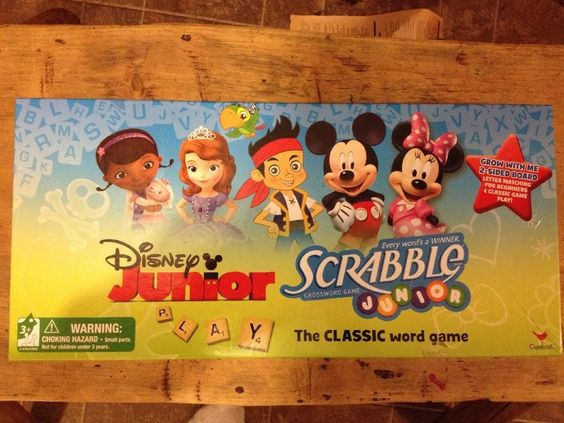 DISNEY JUNIOR SCRABBLE JUNIOR CROSSWORD GAME THE CLASSIC WORD GAME 2-SIDED BOARD #Hasbro