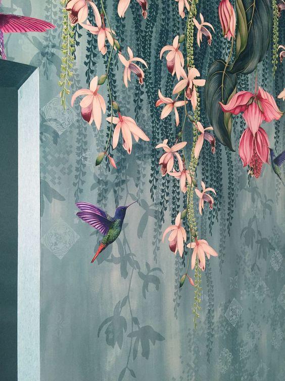 bathroom wall mural floral idea wallpaper