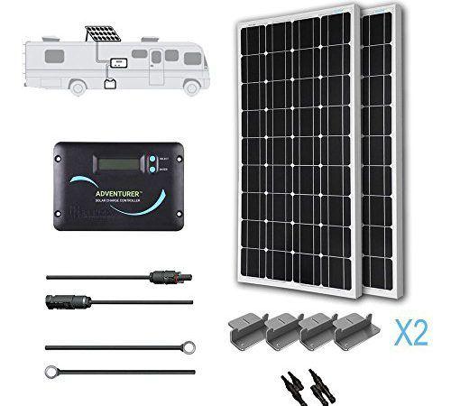 Renogy 200 Watts 12 Volts Monocrystalline Solar Rv Kit With Adventurer Promaster Outpost Solar Power System Solar Panels Solar Panel Installation