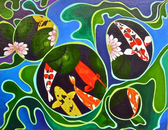 """Koy"" a fusion of koi and coy © Alicia M B Ballard http://www.theterrastudios.com/galleries/acrylics/koy-acrylic-on-canvas-board/"