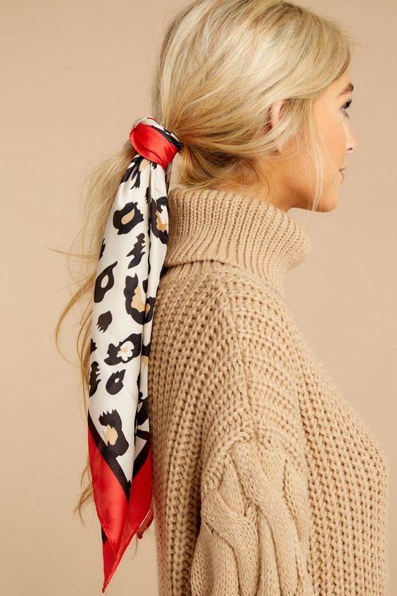 Fun Beige Leopard Print Hair Scarf - Trendy Head Scarf - Scarf - $12 – Red Dress