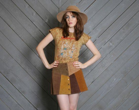 Vintage 60s Suede patchwork #hippie mini skirt