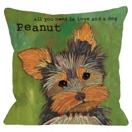 """Showcasing a Yorkie portrait and personalized typographic detail, this charming pillow pays homage to your favorite four-legged friend.   Product: PillowConstruction Material: Polyester cover and fiber fillColor: GreenFeatures:  Insert includedPersonalized with your pet's nameMade in the USA Dimensions: 18"""" x 18""""Cleaning and Care: Cover is machine washable"""
