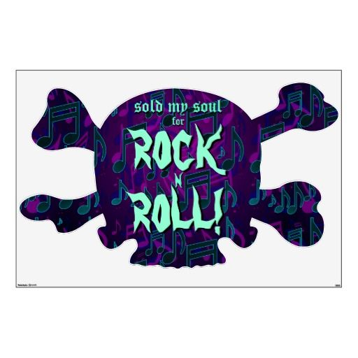 Sold My Soul For Rock N Roll Skull Xbones Large Wall Decal - for Hallowe'en parties and other ghastly gatherings. Rock on!