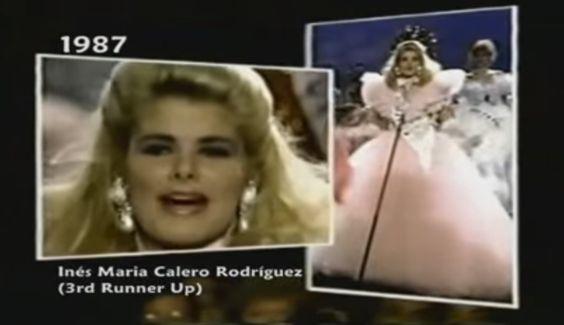 Un Traje de Dama Antañona, en  Abundante Tul en Tono Rosa Pálido, fue la Inspiración realizada para Inés María Calero, para el Miss Universe 1987, celebrado en Singapur..