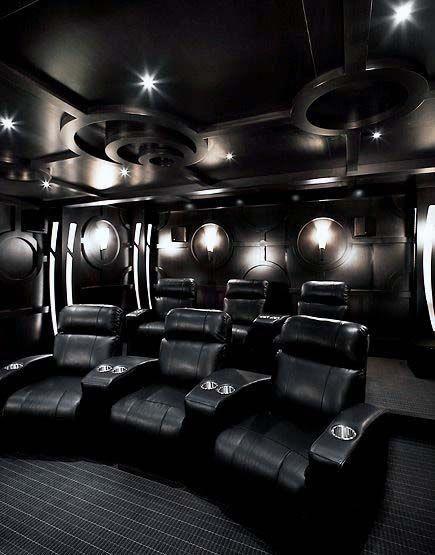 Black Color Themed Home Theater Designs #hometheaterdesign