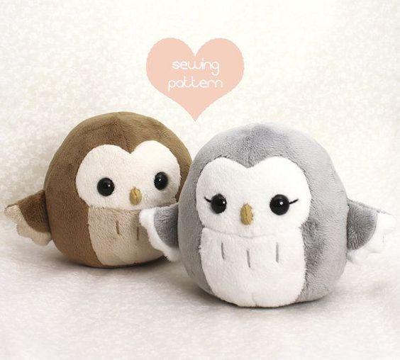 Plush sewing pattern  Owl kawaii easy DIY plush toy von TeacupLion