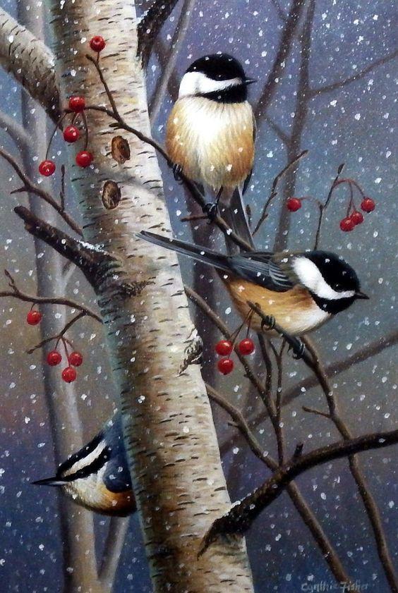 Artist Cynthie Fisher Unframed Chickadee Bird Print Woodland Sprites | WildlifePrints.com: