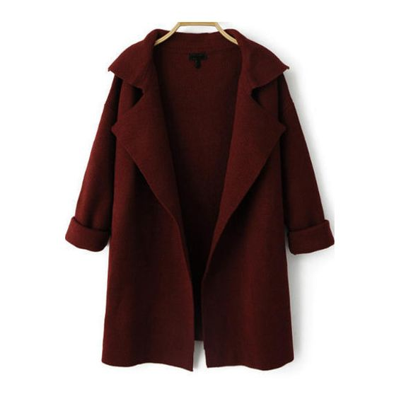SheIn(sheinside) Wine Red Lapel Long Sleeve Loose Knit Cardigan (£18) ❤ liked on Polyvore featuring jackets, outerwear, cardigans, coats, tops and red