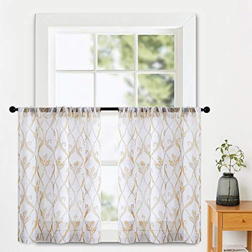 11 29 White W Beige 36 In L Mrtrees Sheer Tier Curtains 36 Inch