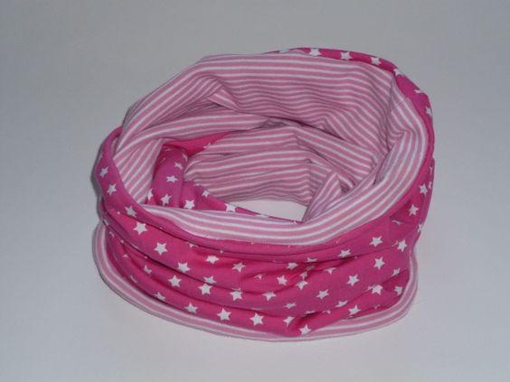 #Loop #Kinderschal zweifarbig aus leichtem Baumwolljersey. Sterne und Streifen, in rosa, Gesamtlänge 100 cm, kann zweimal um den Hals gewickelt werden.