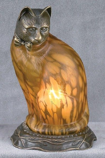 Cat Lamp w/ Amber Glass & Cast Metal Body: