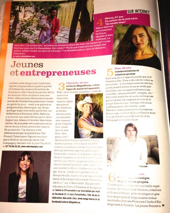 Article de Presse FEMINA Samedi 16 Novembre. Jeunes et Entreprendre Merci au magazine FEMINA pour cet article!!!