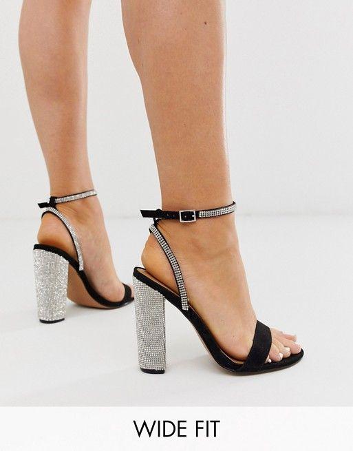 Chix Girls Black Sandals with Diamante Flower Design