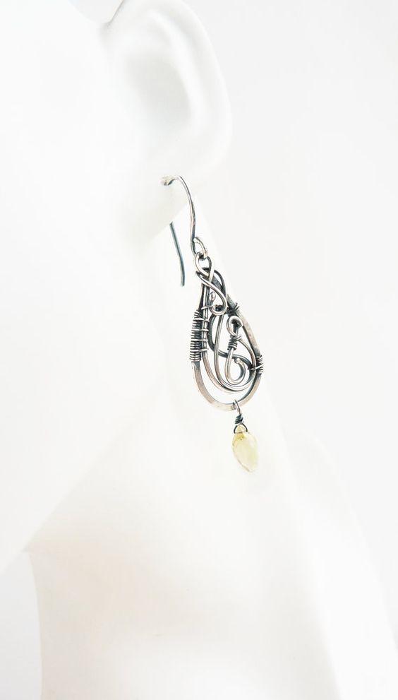 Silver dangle earrings with lemon quartz - Wire wrapping earrings ...