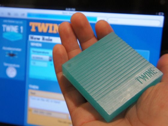 "Twine is the simplest possible way to get the objects in your life texting, tweeting or emailing. A durable 2.5"" square provides WiFi connectivity, internal and external sensors, and two AAA batteries that keep it running for months. A simple web app allows to you quickly set up your Twine with human-friendly rules — no programming needed. And if you're more adventurous, you can connect your own sensors and use HTTP to have Twine send data to your own app. $99"