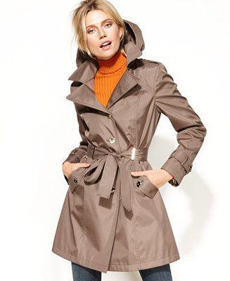 Waterproof &amp removable hood. $79.99 Calvin Klein Hooded Belted