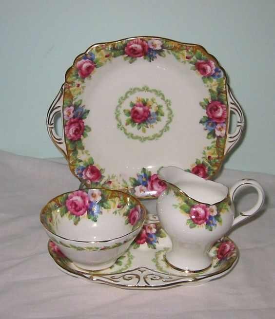 tapestry rose tea set cream sugar