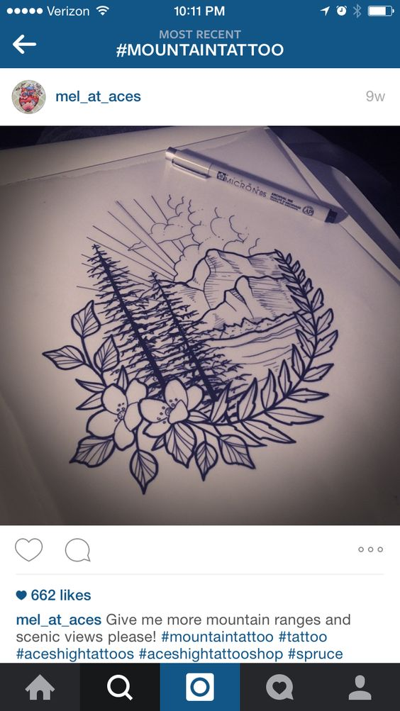 """Mountain tattoo. If I could somehow think of a way to incooperate """"Dad"""" in there with my father's birthday and date of death, it'd be perfect!"""