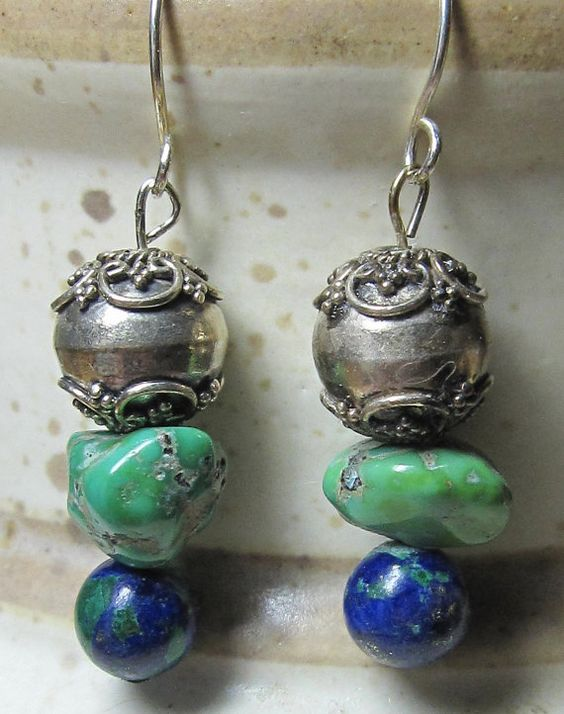 Turquoise Azurite and Silver Bead Ear Rings by BelleImageBijoux, $20.00