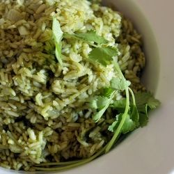 Green Poblano Rice from Rick Bayless