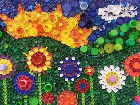 Recycled plastic cap mural ranger elementary school for Bottle cap mural tutorial