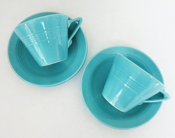 Love these turquoise Art Deco HLC Harlequin teacups!