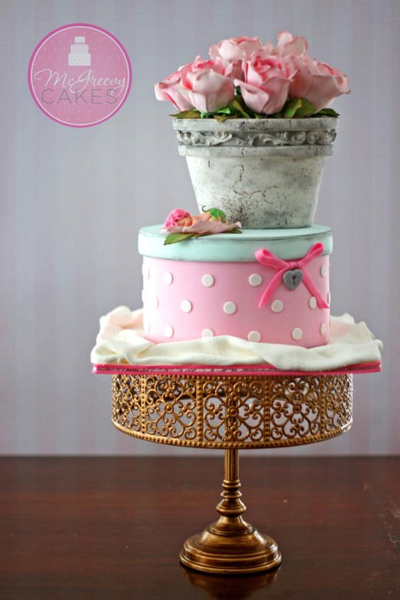 Antique Vase of Pink  Sugar Roses and Hatbox Cake ~ all edible