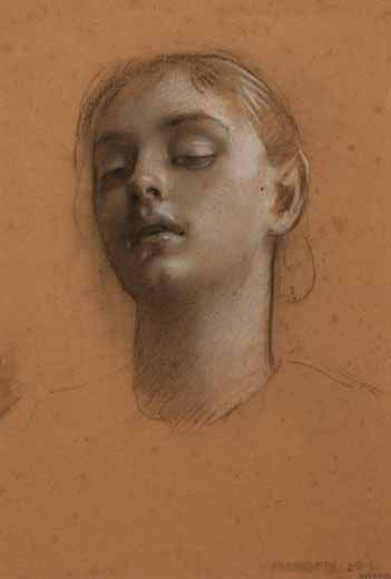 Adolf Hiremy-Hirschl (1860, Temesvar, Austria-Hungary-1933, Rome)  Head of a Young Girl  black and white chalk on brown paper  25 x 17.5 cm  c. 1900