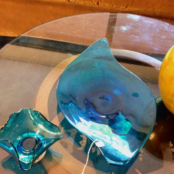 Modern 60s turquoise amorphous art glass