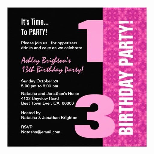 24 13th Birthday Party Invitation
