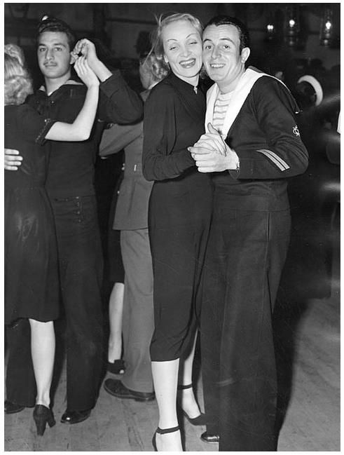 Marlene Dietrich taxi dances at the Hollywood Canteen. 1943