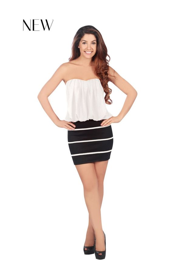 The Holly by Trixxi features a fun blouson top and striped skirt.