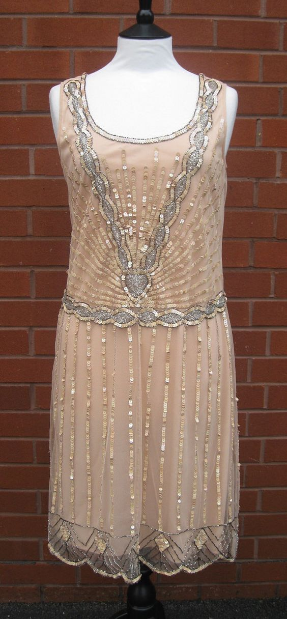 Uk12 Us8 Aus12 Nude Blush Vintage Inspired 1920s Vibe Flapper Great Gatsby Beaded Charleston