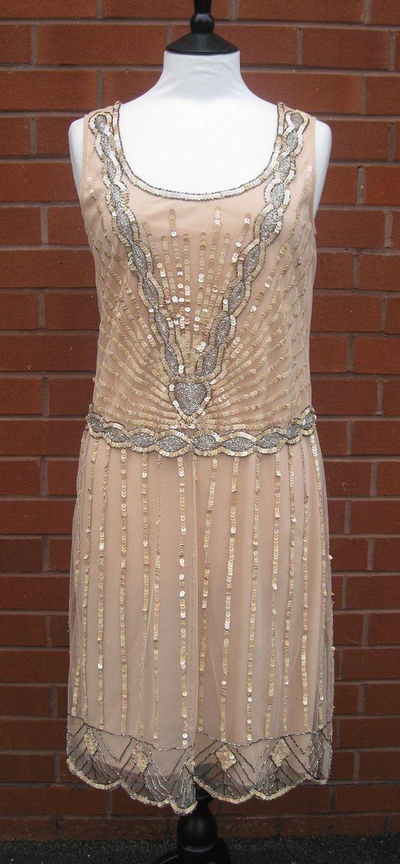 Uk12 Us8 Aus12 Nude Blush Vintage Inspired 1920s Vibe Flapper Great Gatsby Beaded Charleston