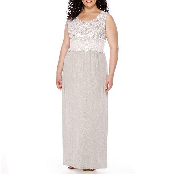 St. John's Bay® Sleeveless Crochet Maxi Dress - Plus - JCPenney