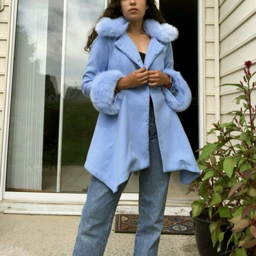 Baby Blue Pea Coat With Fluffy Faux Fur On The Collar And Peacoat Coat Baby Blue